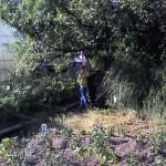 Андрюха что то ловит в бочке с водой